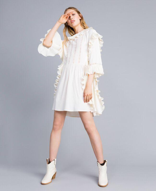buy online f9777 de5ed Abito corto in misto seta con plissé Donna, Bianco | TWINSET ...