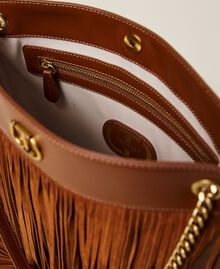 Leather bag with fringes Dark Hide Woman 212TD8010-05