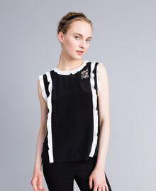 "Silk top with ruches Bicolour Black / ""Snow"" White Woman PA82ES-01"
