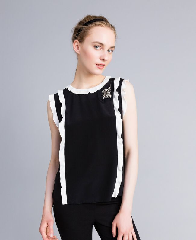 "Top in seta con ruches Bicolor Nero / Bianco ""Neve"" Donna PA82ES-01"