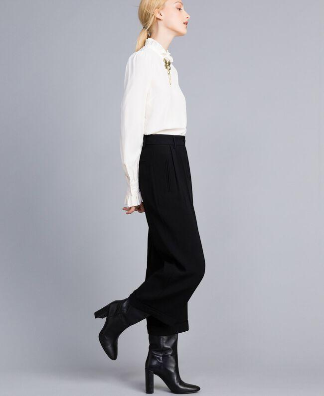 Envers satin cropped trousers Black Woman TA824K-01