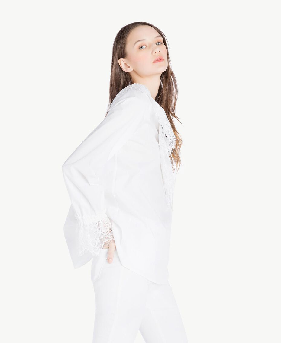 Bluse mit Spitze Weiß Frau SS82J2-02