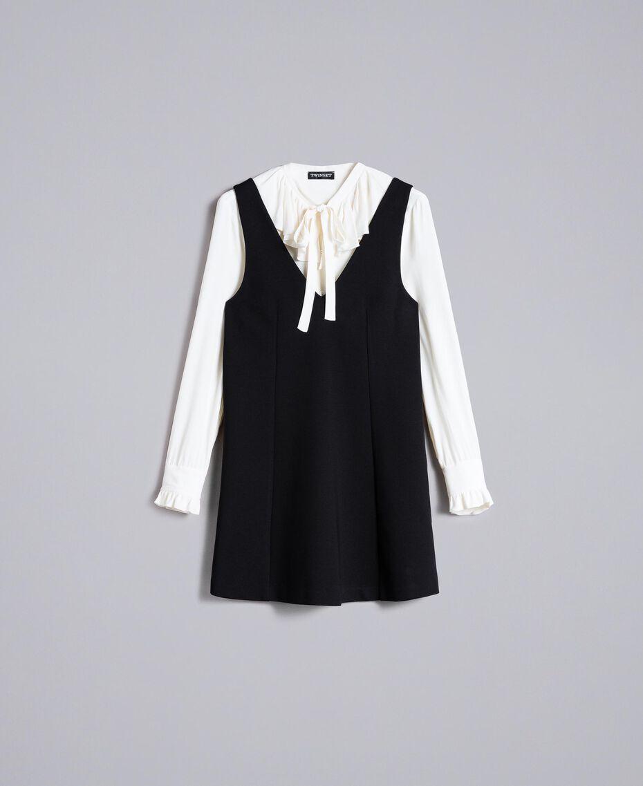 Ärmelloses Kleid mit Bluse aus Seidenmischung Zweifarbig Schwarz / Schneeweiß Frau PA8211-0S
