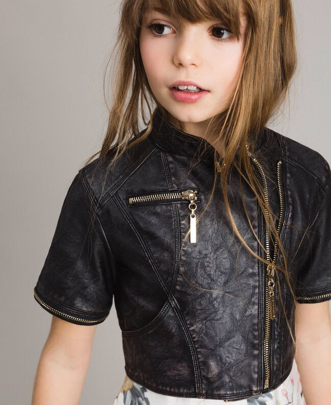 Faux leather jacket with zip Black Child 191GJ2103-04