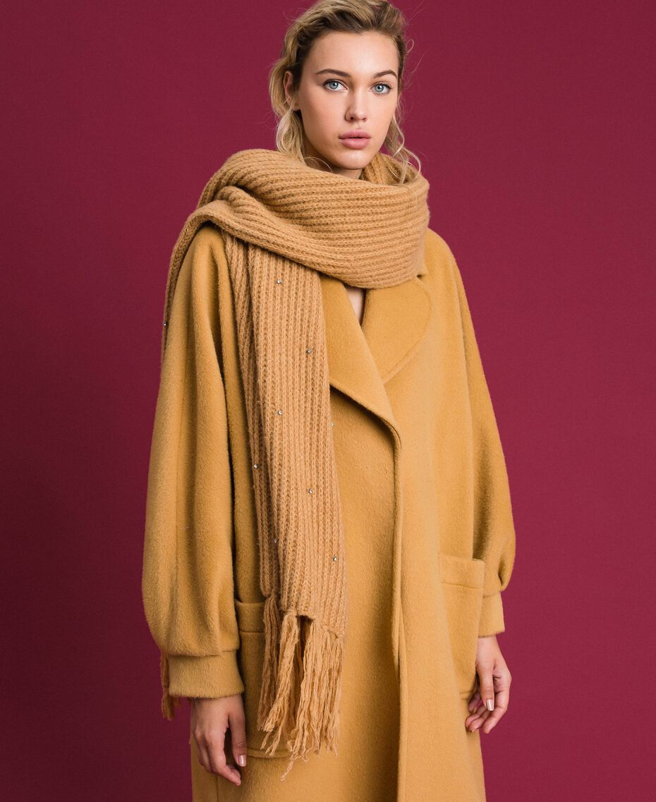 Bezel and fringe scarf Camel Woman 192TO5361-0S