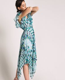 "Printed georgette dress with pleats and frills ""Windy"" Blue Geometric Print Woman 201ST2185-03"