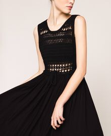 Long dress with crochet Black Woman 201LB36AA-04
