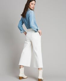Weite Hose aus Baumwolle Weiß Schnee Frau 191TP2191-03