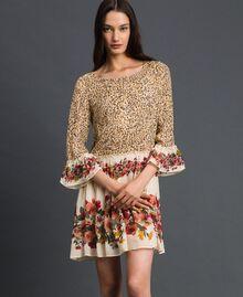 Kleid mit Blumen-Animal-Print Leopardenprint Frau 192TP2741-01