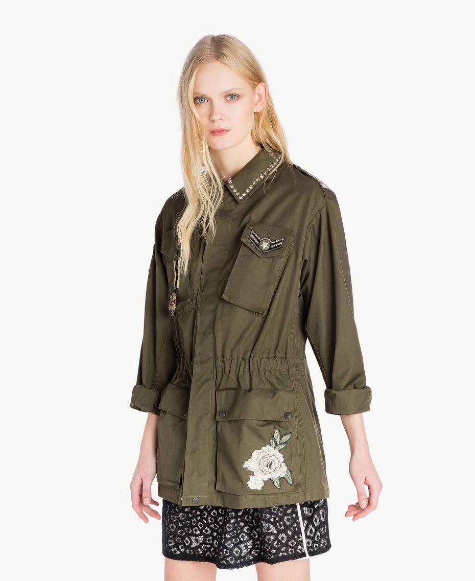 Jacke mit Stickereien Steingrün Frau YS826B-02