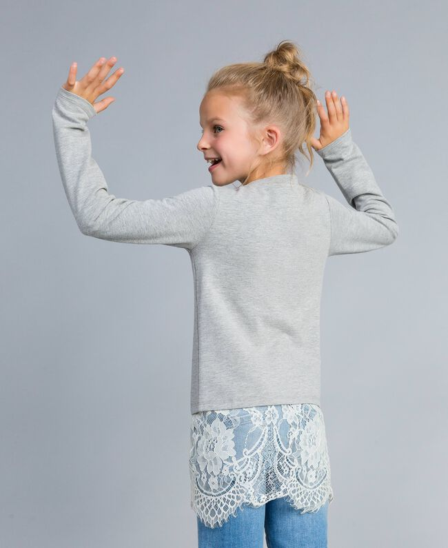 Draped stretch cotton sweatshirt Bicolour Light Grey Melange / Off White Child GA82GB-03