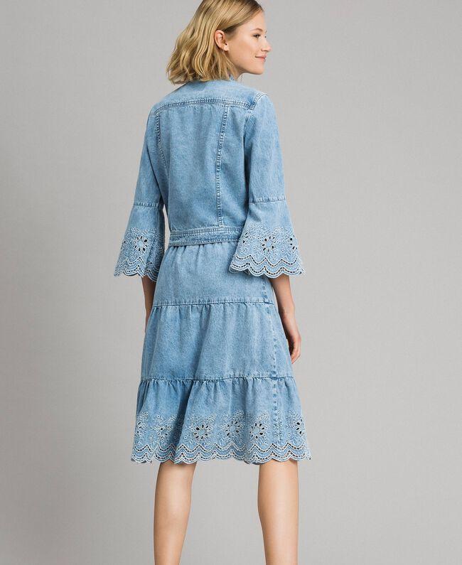Mid-length skirt with broderie anglaise and flounces Denim Blue Woman 191MP2011-03