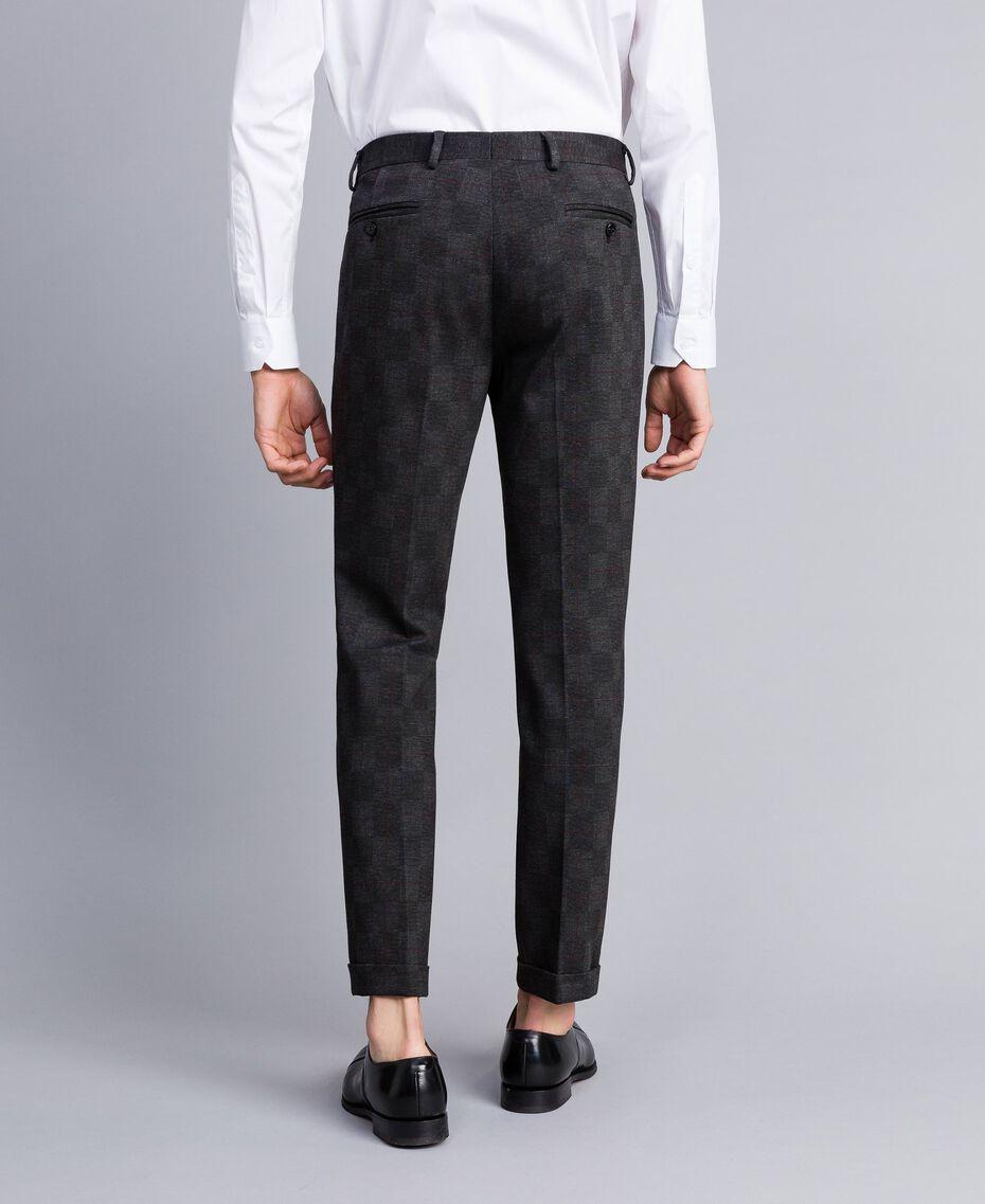 Completo giacca e pantalone stampato Stampa Quadri Grigio Melange Uomo UA82BN-06