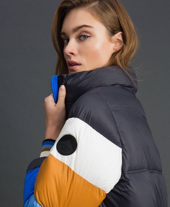 Long colour block puffer jacket