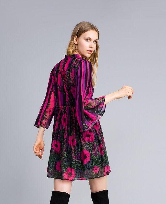 """Kleid aus Chiffon mit Blumenprint Print """"Flower&Stripes"""" Frau TA829Q-03"""