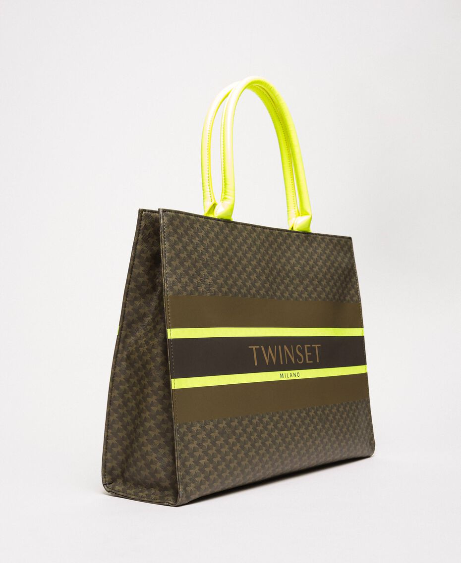 "Butterfly print faux leather shopper ""Camouflage"" Green Butterfly Print / Fluo Yellow Woman 201TA7240-02"