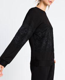 Viscose sweatshirt with lace Black Woman IA8CCC-02