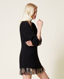 Vestido de mezcla de lana y combinación de flores Bicolor Negro / Estampado Indian Flower Negro Mujer 212TP3510-04
