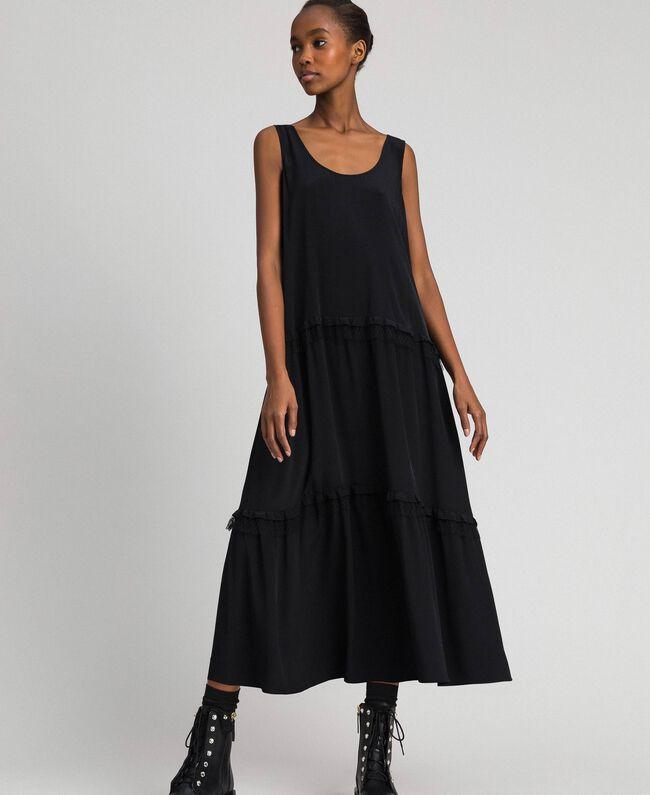 Long dress in silk blend crêpe de Chine Black Woman 192TP2361-01