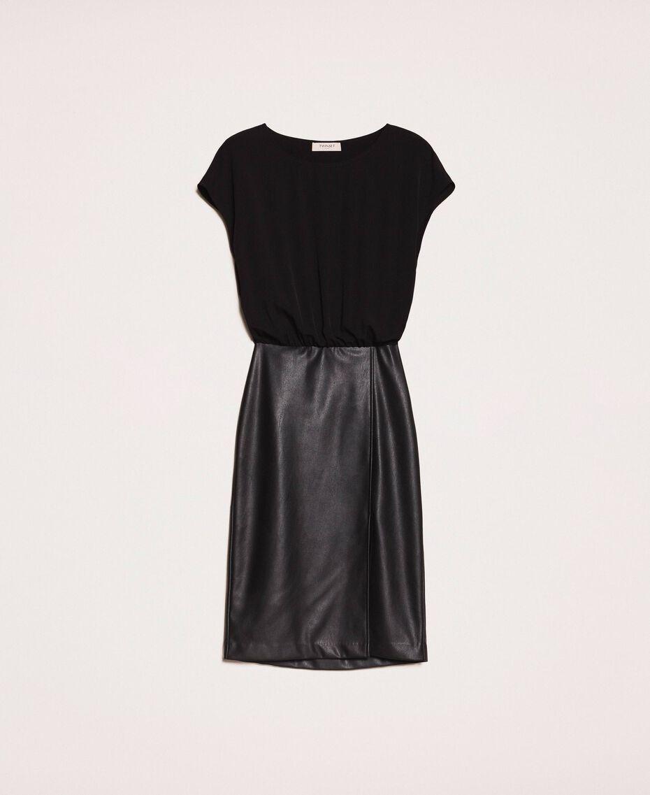 Faux leather and crêpe de Chine dress Black Woman 201TP2122-0S