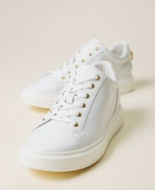 Sneakers in pelle con logo in strass Bianco Donna 212TCP140-02