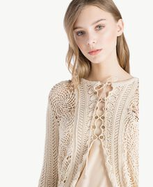 Crochet mandarin collar top Ecrù Woman TS83BB-04