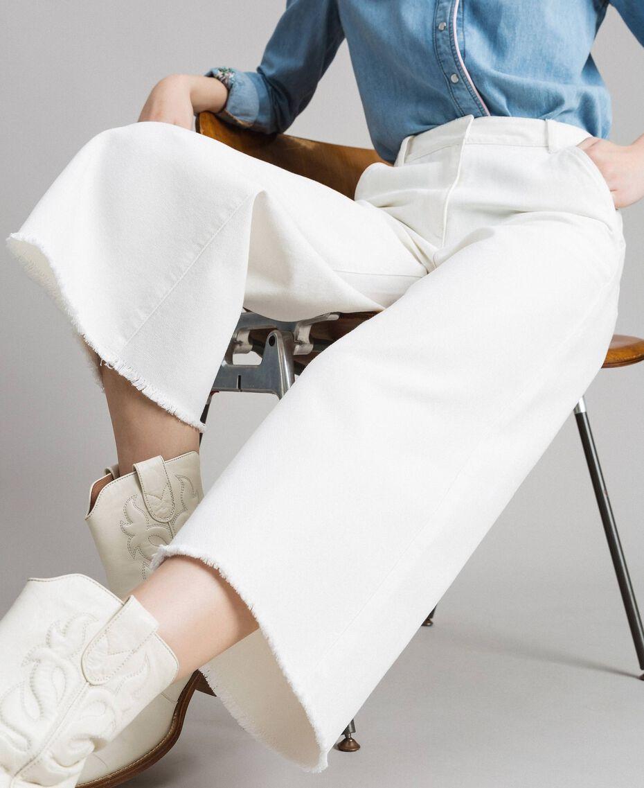 Pantalon en coton à jambe large Blanc Neige Femme 191TP2191-05