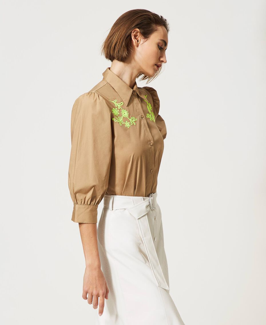 """Poplin shirt with high-vis embroideries """"Biscuit"""" Brown Woman 211MT2093-02"""