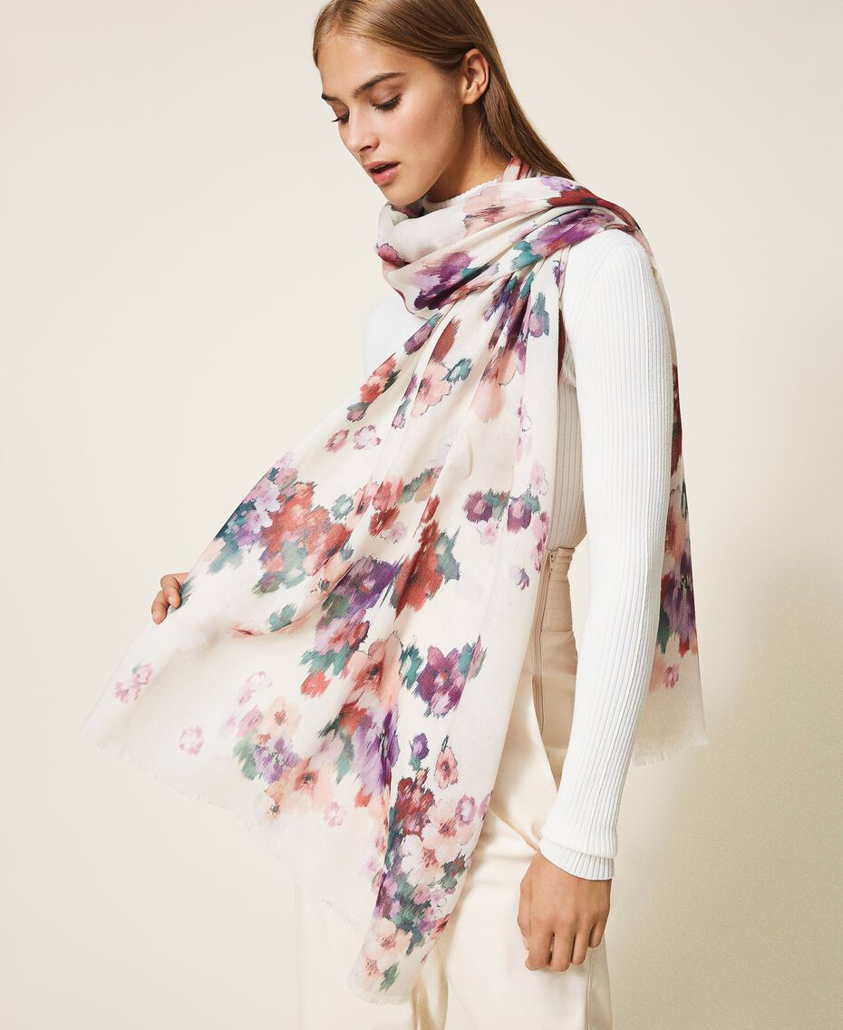 Floral print scarf Ivory Floral Print Woman 202TO510K-0S