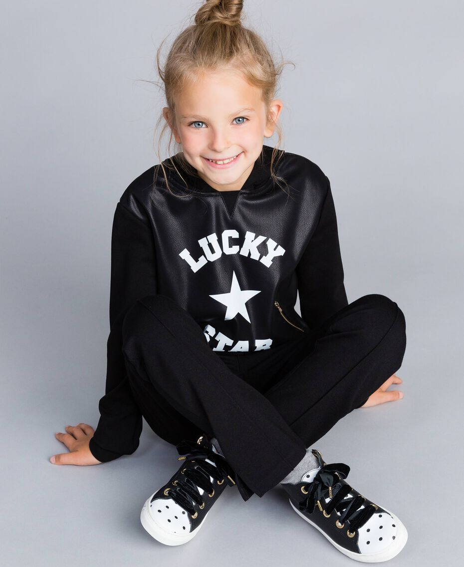 Sneakers aus Leder mit Feston Schwarz Kind HA88CC-0S