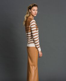 "Wool blend jumper with stripes and lace Creamy White / ""Sequoia"" Beige Woman 192ST3010-03"