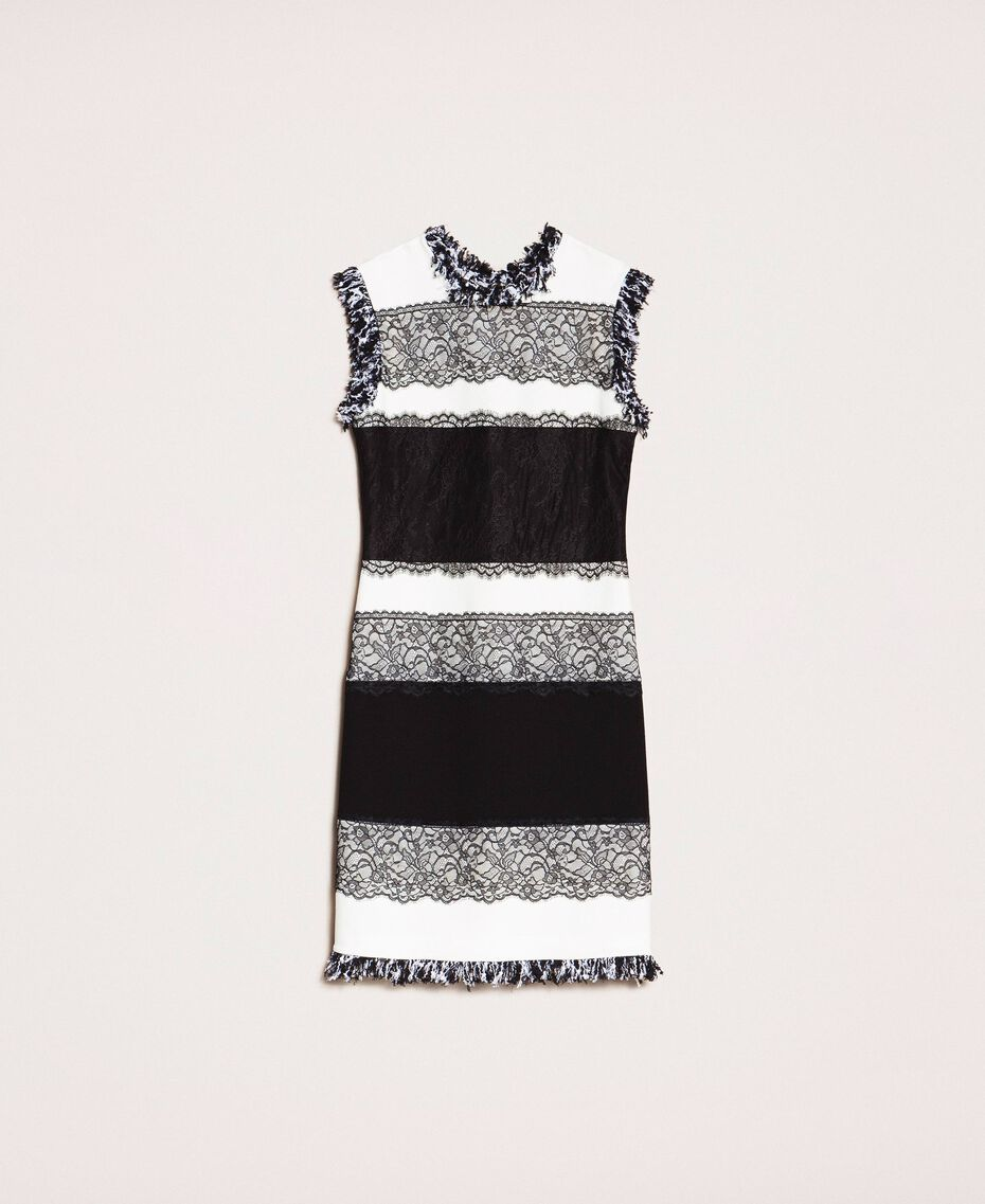 Two-tone sheath dress with lace White / Black Woman 201TQ2070-0S