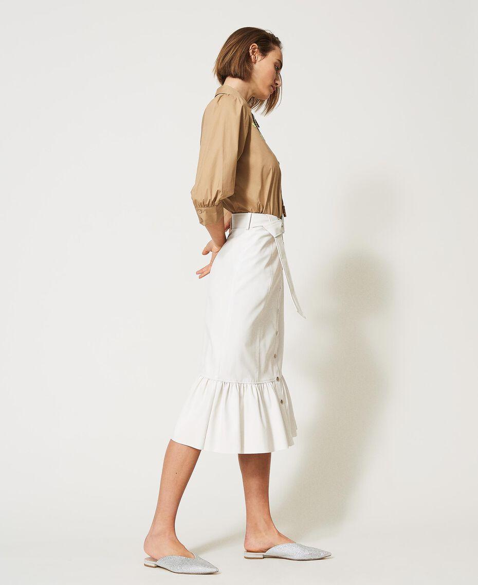 Midi skirt with flounce Vanilla White Woman 211MT2161-02