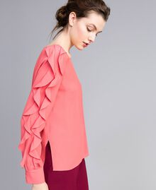 Silk blend blouse with frills Royal Pink Pink Woman PA828B-01