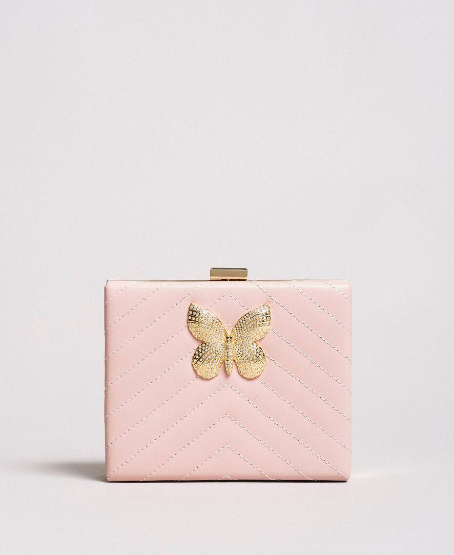 Matelassé leather clutch bag Pink Pearl Woman 191TA7196-02