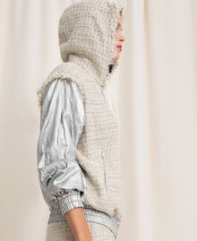 Laminated bomber jacket with bouclé fabric Multicolour Ivory / Silver Grey Woman 201TP2220-06