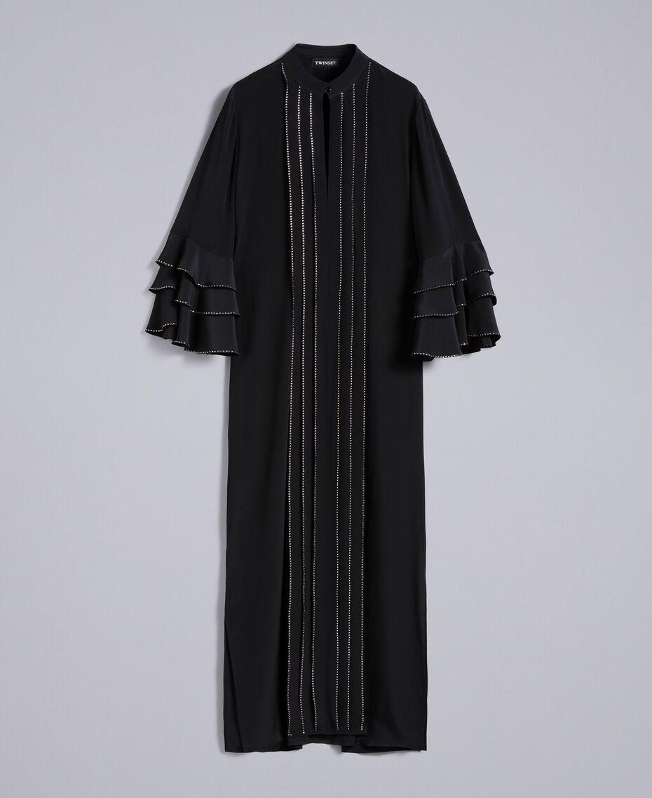 Long silk blend dress with rhinestones Black Woman TA8233-0S