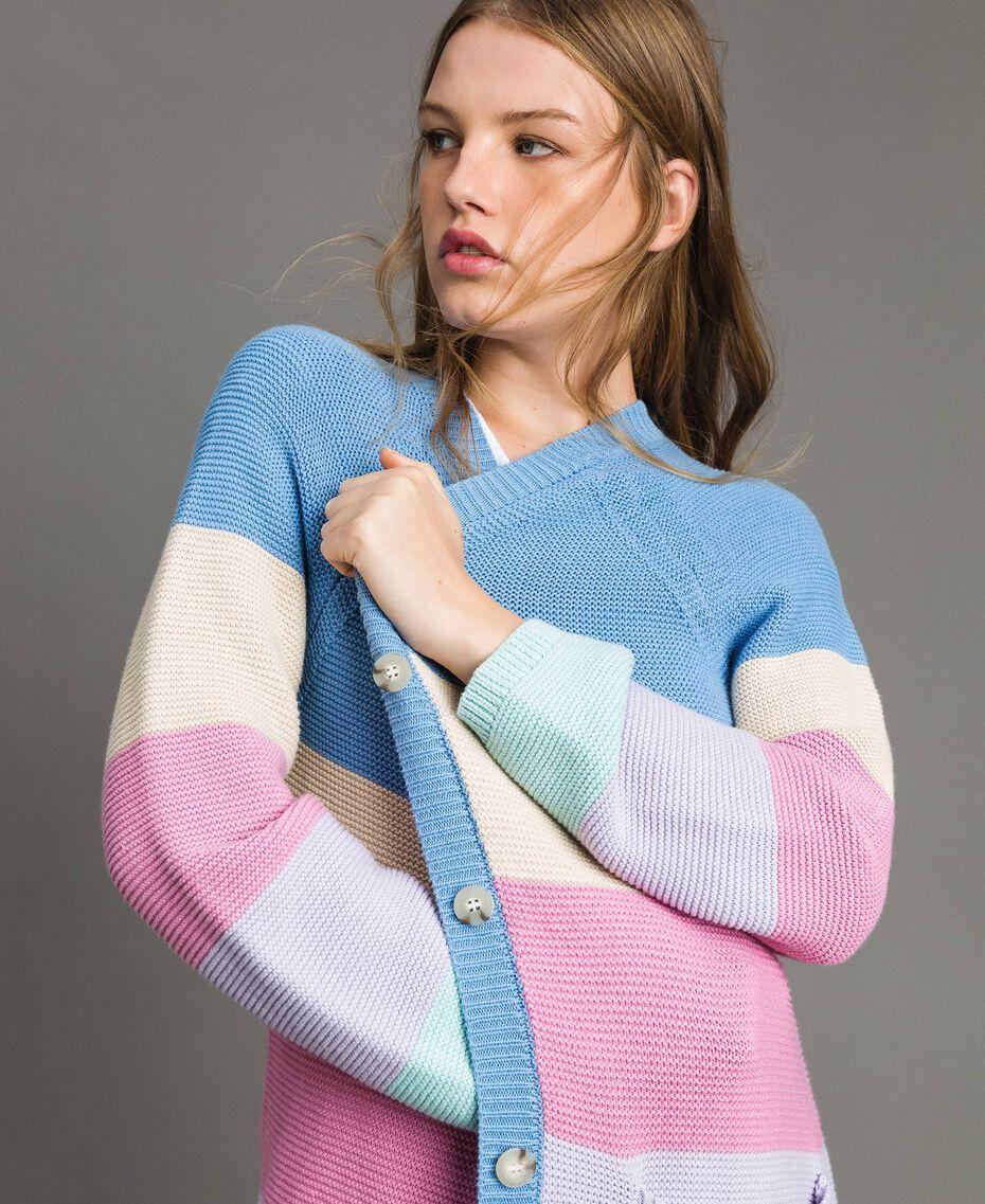 Maxi cardigan rayé Multicolore Couleur Pastel Femme 191MP3010-05