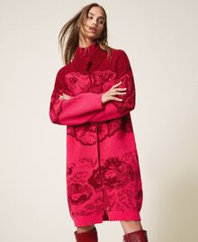 Floral jacquard knit coat Shocking Pink / Cherry Red Jacquard Woman 202TP340A-05