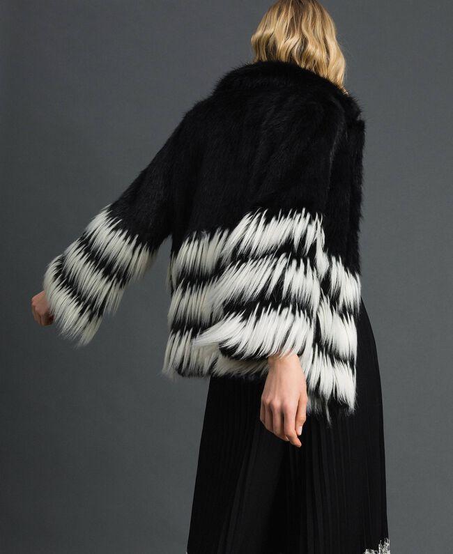 Two-tone faux fur jacket Black Woman 192TP2391-03