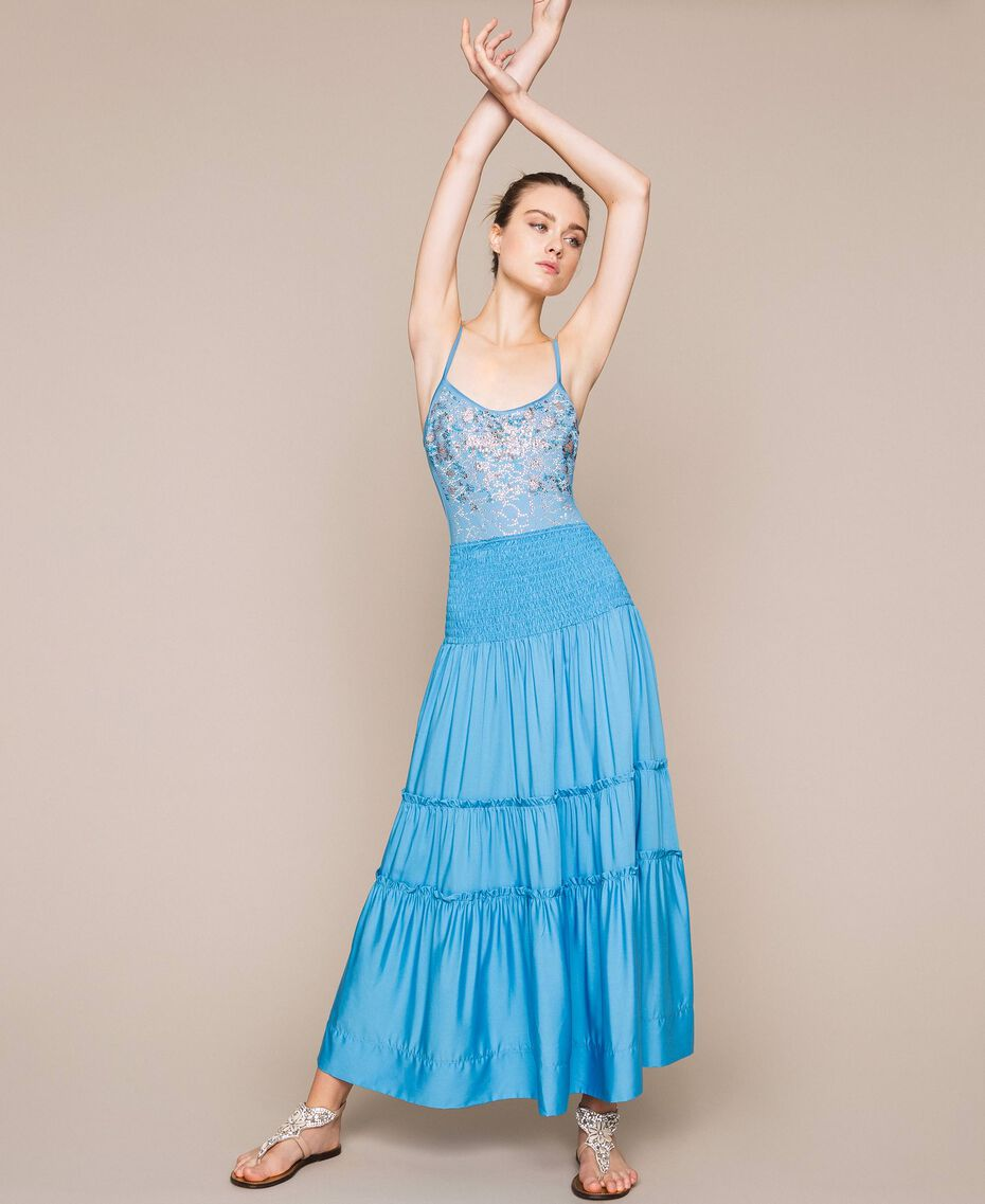 "Skirt-dress with flounces ""Waterfall"" Blue Woman 201LB2BEE-01"