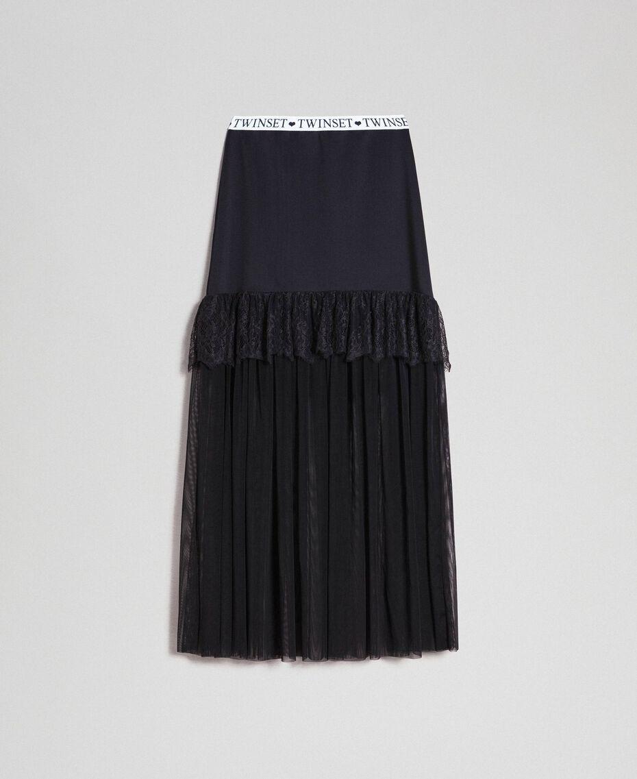 Jupe longue en tulle et scuba Noir Femme 192LI2WLL-0S