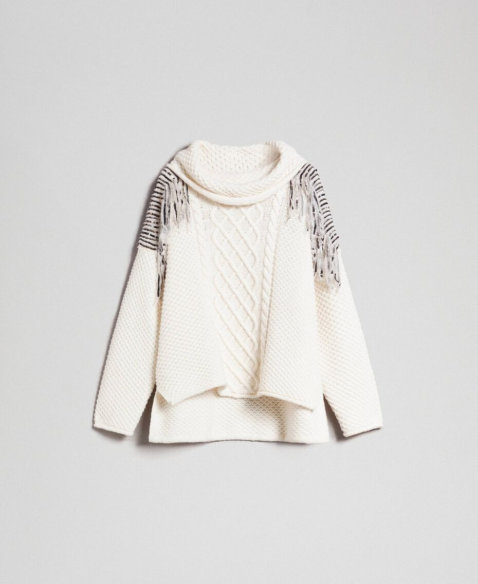 Oversize jumper with sequins and fringes White Snow Woman 192TT3231-0S