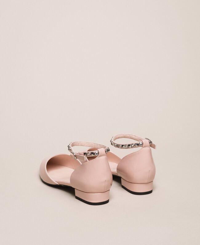 Patent leather ballerina pumps with rhinestones Black Woman 201MCP01G-04