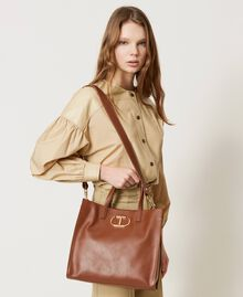 Twinset Bag leather shopper Leather Brown Woman 211TD8041-0S
