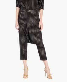 Jacquard trousers Black Jacquard / Gold Stripes Woman TS82VB-01