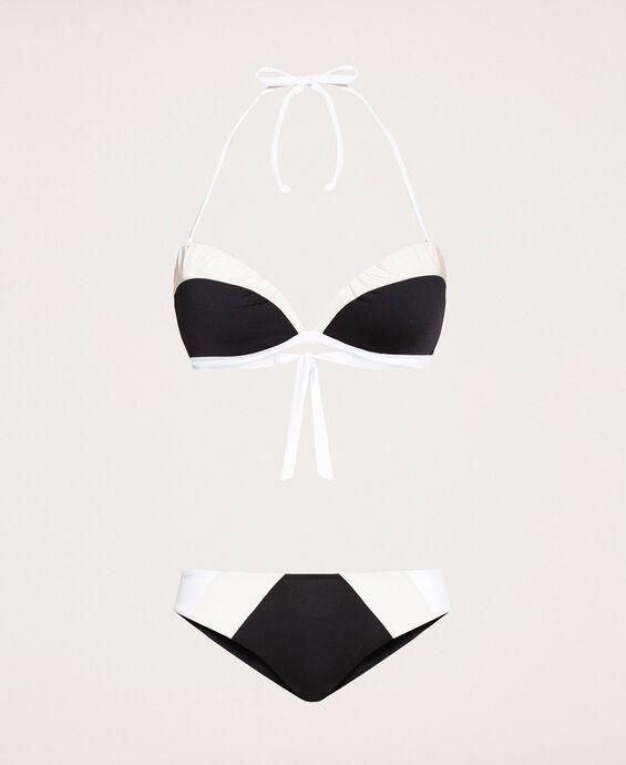 Bikini color block avec bretelles amovibles