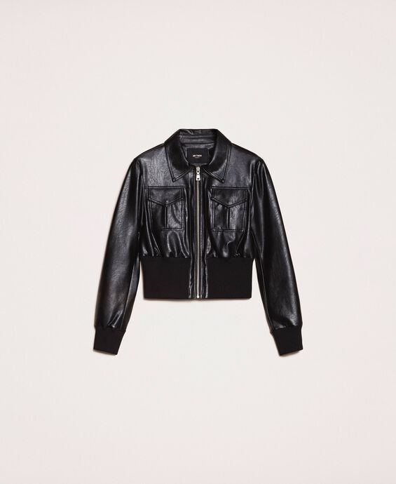 Faux leather jacket with waist band