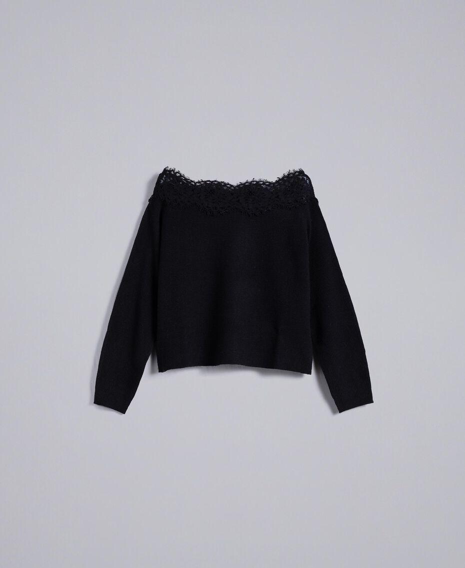 Maglia in misto lana con pizzo Nero Donna TA837N-0S