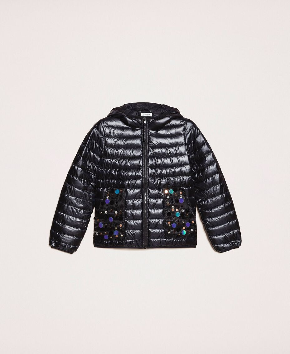 Ultralight puffer jacket with sequins Black Woman 201ST2120-0S